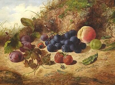 19th Century Still Life Fruit Strawberry Plum Peach Grapes Oil Painting CLARE