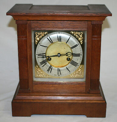 Antique Oak Cased Chiming HAC Mantle Clock Fully Working + its Key