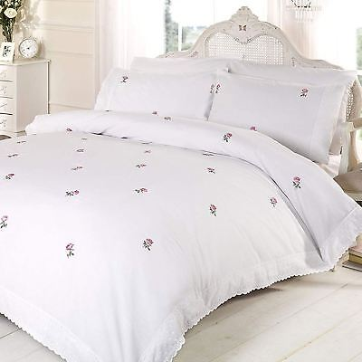 Alicia Floral White / Pink King Size Duvet Cover Set Embroidered Bedding