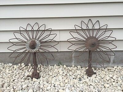 2 Rare Daisy Flower Rotary Cultivator Wheel Garden Farm Yard Art Steampunk Rusty