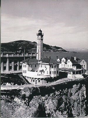 Post Card Of An Old Vintage Photograph Of Alcatraz Island In San Francisco Bay