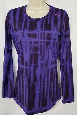 Under Armour Womens Athletic Shirt XS Purple Black Long Sleeve Base Layer Fitted