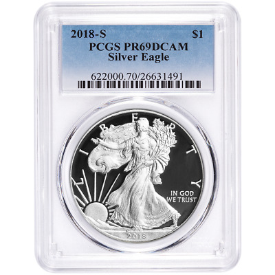 2018-S Proof $1 American Silver Eagle PCGS PR69DCAM Blue Label