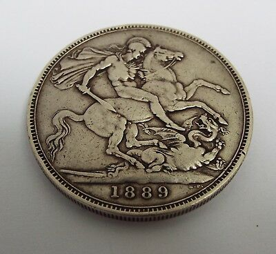 Fine Large English Antique Victorian 1889 Solid Sterling Silver One Crown Coin