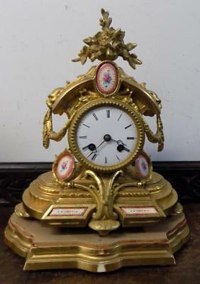 french gilt and porcelain paneled mantel clock c1880s