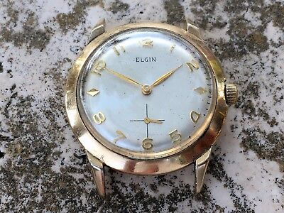 RARE ELGIN MADE IN USA WATCH Cal.713 GF GENTS SIZE FOR REPAIR RESTORE