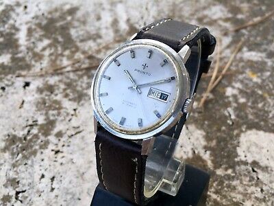 RARE PRONTO SPORT AUTOMATIC WATCH STEEL ETA Cal.2638 RUNNING ORDER