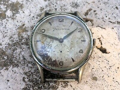 RARE VINTAGE HELVETIA WATCH Cal.80c  GENTS SIZE FOR REPAIR RESTORE