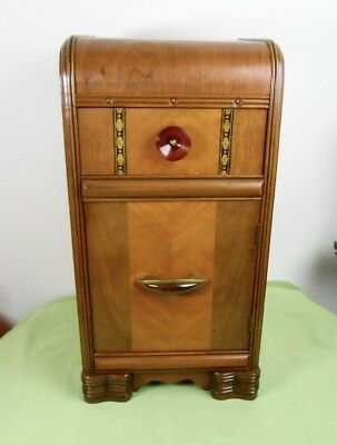 Vintage 1930's-40's Art Deco Waterfall Nightstand End Table Cabinet