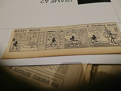 Old  oz Newspaper Walt Disney Comic Strip Mickey Mouse 1930s A Sleuthing Outfit