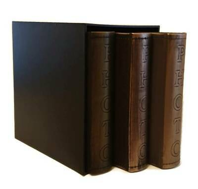 "Eco Leather Vintage Slip In Photo Album Box Set Of 3 x 200 6"" x 4"" Photos Memo"