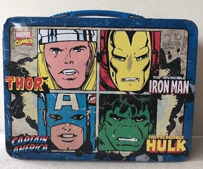 Lunch Box-Marvel Comics Metal-Tin Thor-Hulk-Iron Man-Captain America Avenge