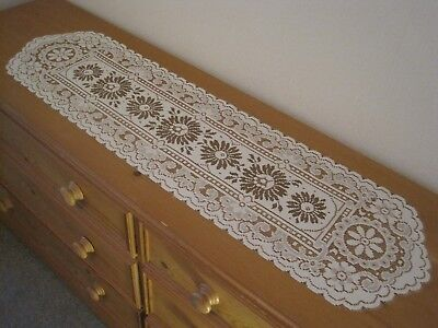 """A LOVELY VINTAGE TYPE NOTTINGHAM LACE RUNNER  12""""  x  45"""" APPROX.  TWO TONE."""
