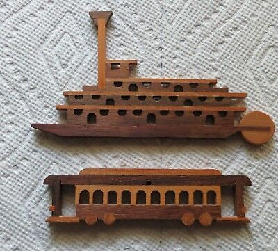 New Orleans Riverboat & Streetcar Wood Christmas Ornaments
