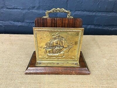 Vintage Solid Oak & Brass Naitical Galleon Ship Letter Rack Stand