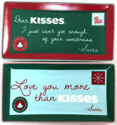 (2) Fitz & Floyd Rectangle Christmas Dishes Sweet Notes Kisses Holiday