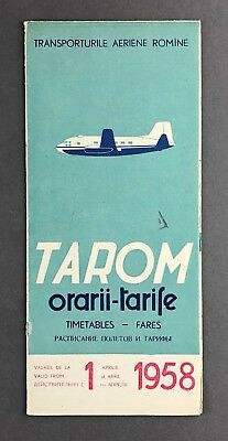 Tarom Timetable April 1958 Romanian Air Transport Route Map