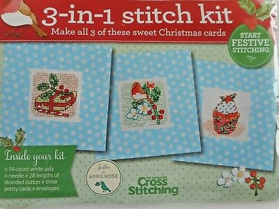 3 x MINI XMAS CARDS. FESTIVE MOTIFS. CROSS STITCH COVER KIT