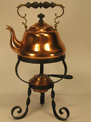Copper Tea Pot with Heat Stand Germany Vintage