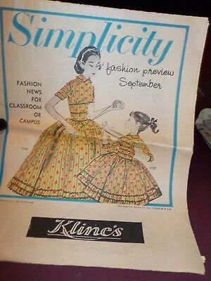 Vintage 1956 Simplicity Fashion Preview September- Newspaper Kline's