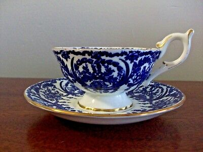 Coalport Footed Tea Cup and Saucer 5012/A Circa 1920 Cobalt Blue and White