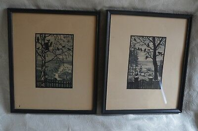 Pair of hand cut paoer silhouettes Birds in Trees over B/W Landscapes framed art