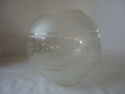 """Vintage Frosted Glass Oil/Gas/Electric  Lamp Shade Clear Designs Globe 4"""" fitter"""
