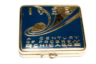 1933 Art Deco Chicago Worlds Fair Expo Vanity Make-Up Compact