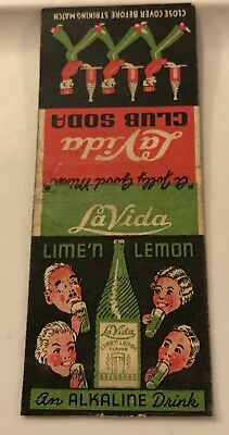 Old Matchbook Cover La Vida Club Soda A Jolly Good Mixer