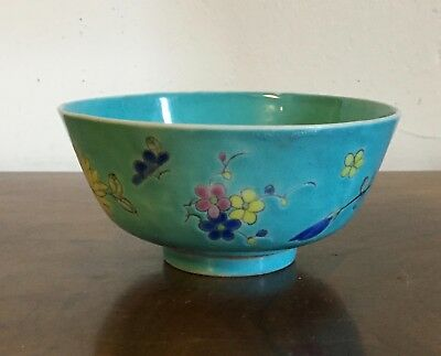 Antique Chinese Export Porcelain Bowl Famille Rose Turquoise 19th century Tea 1