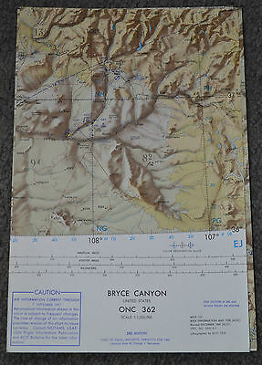 1961 BRYCE CANYON ~ ONC 362 ~ USAF OP NAV Chart / MAP ~ Ex Cond ~ Vintage