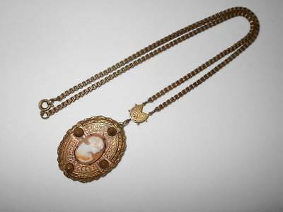 Antique Vtg Victorian Carved Shell Cameo Etruscan Brass Lariat Pendant Necklace