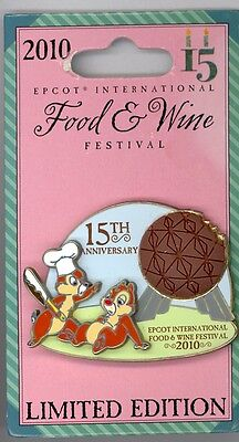 Disney Epcot Food & Wine Chef Chip & Dale Eating Chocolate Spaceship Earth Pin