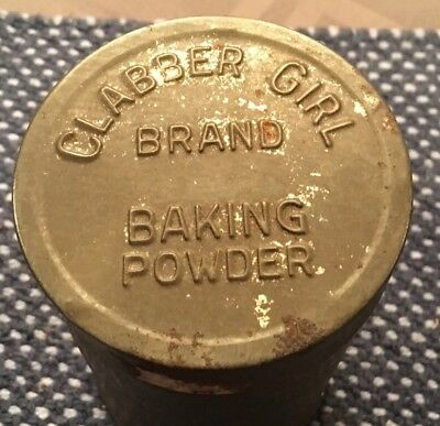 Antique Clabber Girl Baking Powder Tin Can Container