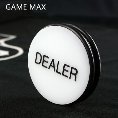 Black White 3 Inches Acrylic Dealer Puck Casino Quality Dealer Button Large