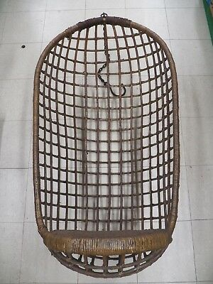 "ANTIQUE  Wicker Hanging EGG Chair,Egg Shaped Swing Chair - 50"" T X 26""  l@@K"