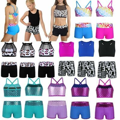 Girls Sports Ballet Dance Top+Bottoms Gymnastics Leotard Dancing Swimming Outfit