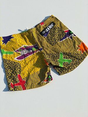 vintage 80s Surfline JAMS shorts size medium made in USA airplanes allover print