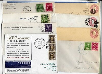 Us Postal History-- Collection Builder Lot Of 8 Diff. Covers & Cards  (N5531)