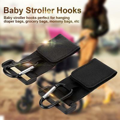 2Pcs Infant Baby Stroller Hook with Loop PU Leather Alloy Hanger Pushchair