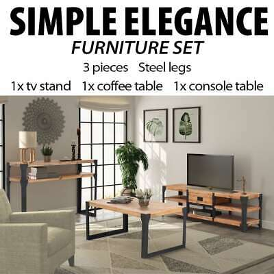 vidaXL Solid Acacia Wood Living Room Furniture TV Stand Coffee Console Table