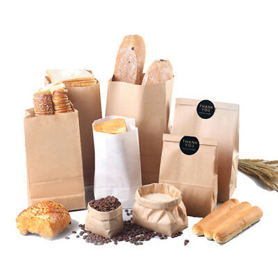 100 Pcs Kraft Paper Food Packing Bags Unwaxed Oilproof Takeout Take-away