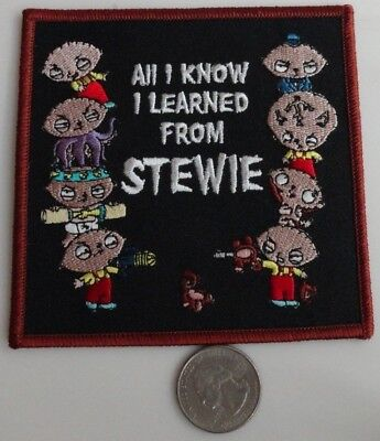 All I know I learned from Stewie - Family Guy Cartoon Iron On Patch New - BIG