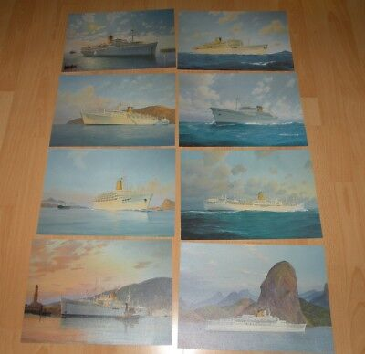 Lot De 8 Images De Paquebots Costa 29.8 Cm X 21 Cm Facon Impression Toile