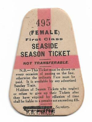 Unused First Class Seaside Season Ticket Female Rarely Seen  (P) Series 1960's