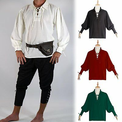 0e22293ce6c314 Renaissance Men Knight Top Bandage Shirt Medieval Peasant Pirate Cosplay  Costume