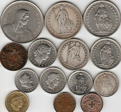 14 different world coins from SWITZERLAND some silver
