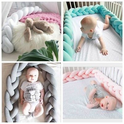 1.5M 2M Baby Infant Plush Crib Bumper Bed Bedding Cot Braid Pillow Pad Protector