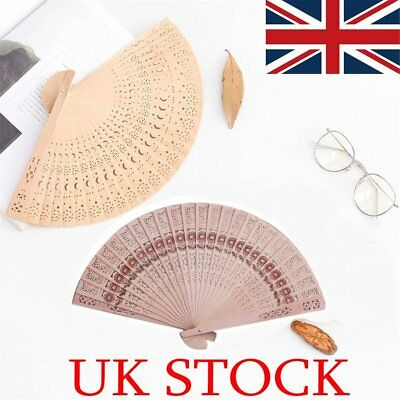 Retro Bamboo Fan Folding Wooden Carved Hand Fans for Outdoor Wedding Party Favor