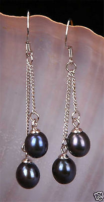 Wholesale 6-7mm Genuine Natural Freshwater Pearl Real Silver Dangle Earrings